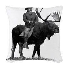 Teddy Roosevelt on Bullmoose Woven Throw Pillow