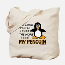 I Like My Penguin Humor Tote Bag