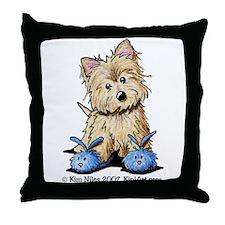Blue Bunny Cairn Throw Pillow