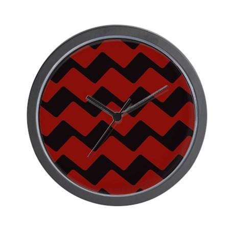 Fancy black and red zigzags wall clock by chevroncitypart2 for Red and black wall clock