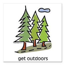 "Cute Hiking Square Car Magnet 3"" x 3"""