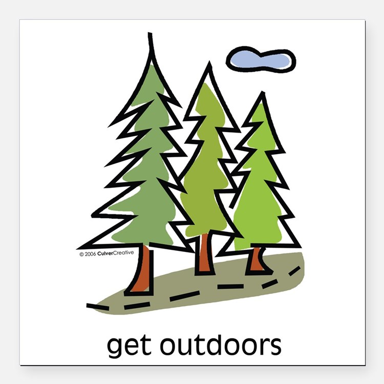 """Cute Outdoors Square Car Magnet 3"""" x 3"""""""