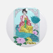 Dragonflies Peacock and Kimono Ornament (Round)