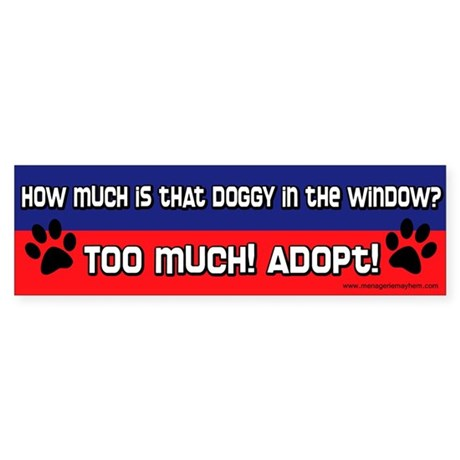 Doggy in the Window Bumper Sticker (Red & Blue)
