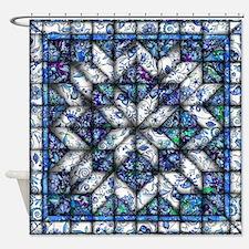 blue onion quilt Shower Curtain