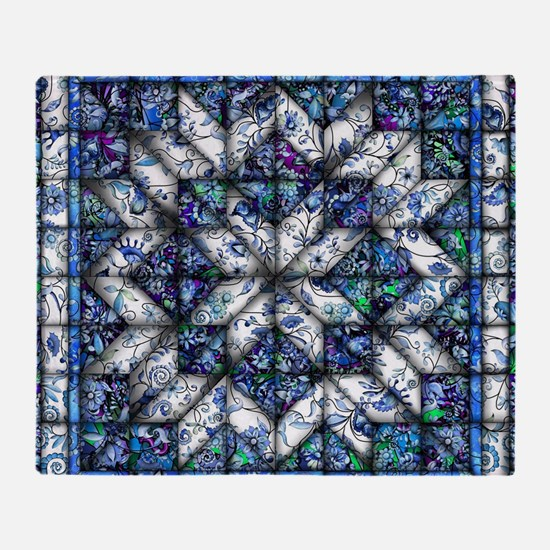 blue onion quilt Throw Blanket