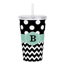Black Mint Green Dots Chevron Monogram Acrylic Dou