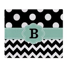 Black Mint Green Dots Chevron Monogram Throw Blank