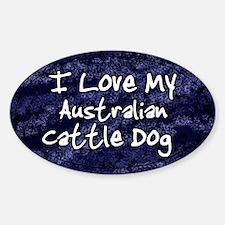 Funky Love Australian Cattle Dog Oval Decal