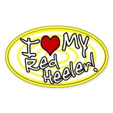 Hypno I Love My Red Heeler Oval Sticker Ylw
