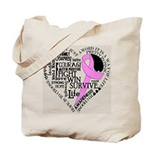 Breat Cancer Awareness Heart Tote Bag