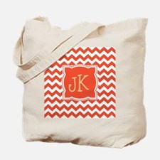 Orange Chevron Stripes Monogrammable Tote Bag