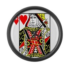 Queen of Hearts Large Wall Clock
