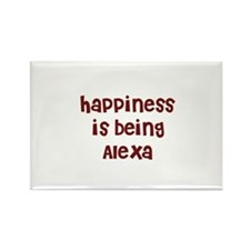 happiness is being Alexa Rectangle Magnet