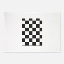black and white checkered design 5'x7'Area Rug
