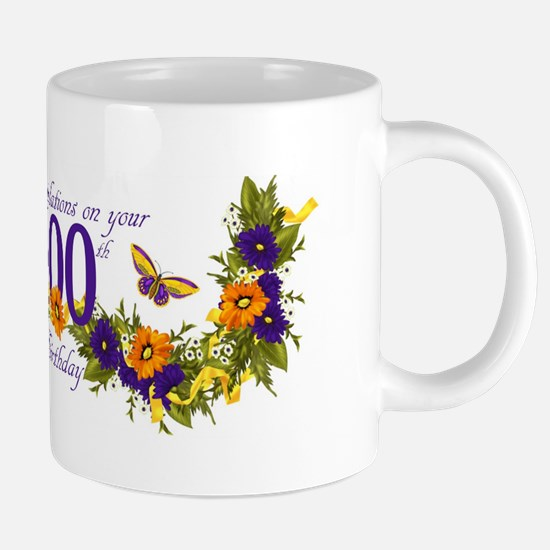 100th Birthday Mug With Butterflies And Mugs