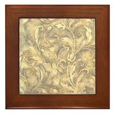 vintage grey design Framed Tile