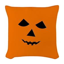Jack-o-Lantern Face Woven Throw Pillow