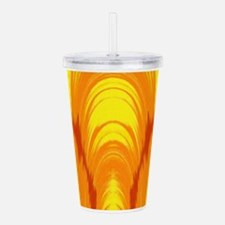 Bright yellow and orange tie dye Ikat Acrylic Doub