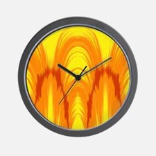 Bright yellow and orange tie dye Ikat Wall Clock