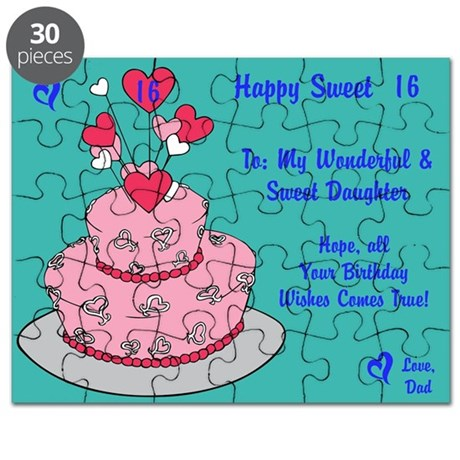 Happy Sweet 16 Birthday Card Puzzle From Dad by ItsallintheName – Happy Sweet 16 Birthday Cards