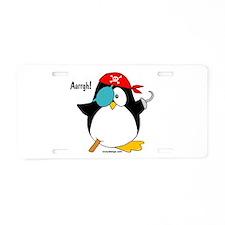 Penguin Pirate Graphic Aluminum License Plate