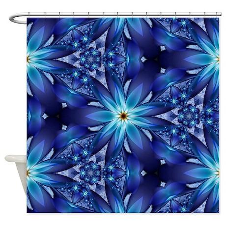 Midnight Blue Flower Shower Curtain By Admin Cp68870216