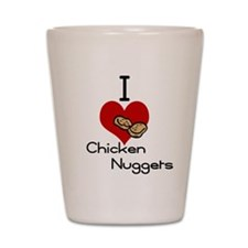 I love-heart chicken nuggets Shot Glass