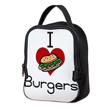 I love-heart burgers Neoprene Lunch Bag
