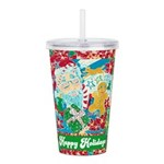 Happy Holidays Acrylic Double-wall Tumbler