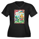Happy Holida Women's Plus Size V-Neck Dark T-Shirt