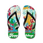 Happy Holidays Flip Flops