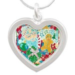 Happy Holidays Silver Heart Necklace