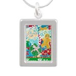Happy Holidays Silver Portrait Necklace