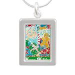 Happy Holidays Silver Portrait Necklace