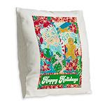 Happy Holidays Burlap Throw Pillow