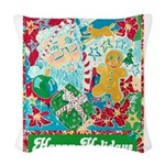 Happy Holidays Woven Throw Pillow