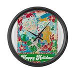 Happy Holidays Large Wall Clock