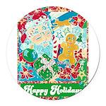 Happy Holidays Round Car Magnet