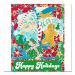 "Happy Holidays Square Car Magnet 3"" x 3"""