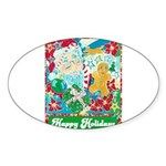 Happy Holidays Sticker (Oval)