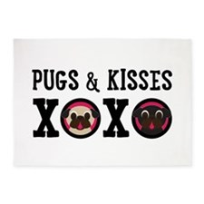 Pugs & Kisses With Black Text 5'x7'area Rug