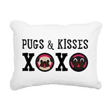Pugs & Kisses With Black Rectangular Canvas Pi