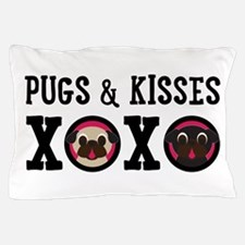 Pugs & Kisses With Black Text Pillow Case