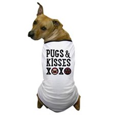 Pugs & Kisses Black Text Stacked Dog T-Shirt
