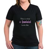 Feminist Womens V-Neck T-shirts (Dark)