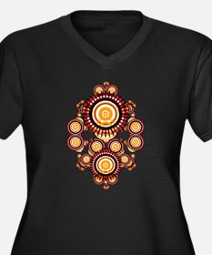 EarthCircles Women's Plus Size V-Neck Dark T-Shirt