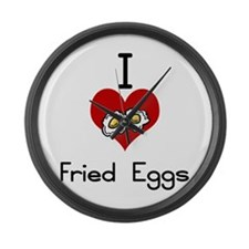 I love-heart fried eggs Large Wall Clock