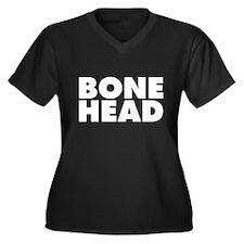 Bonehead Women's Plus Size V-Neck Dark T-Shirt