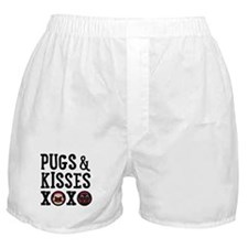 Pugs & Kisses Black Text Stacked Boxer Shorts